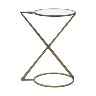 Hidebrand Glass Top Frame End Table by Ivy Bronx