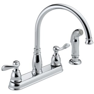Review Windemere Double Handle Kitchen Faucet with Side Spray by Delta