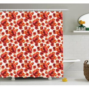 Burnes Red Poppy Flowers Artsy Shower Curtain + Hooks