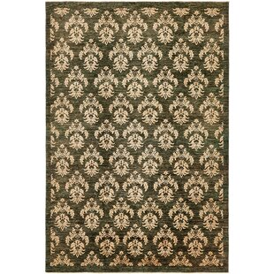 Order One-of-a-Kind Huntingdon Hand-Knotted  6'6 x 9'8 Wool Black Area Rug By Isabelline