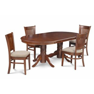 Miriam 5 Piece Extendable Solid Wood Dining Set Breakwater Bay