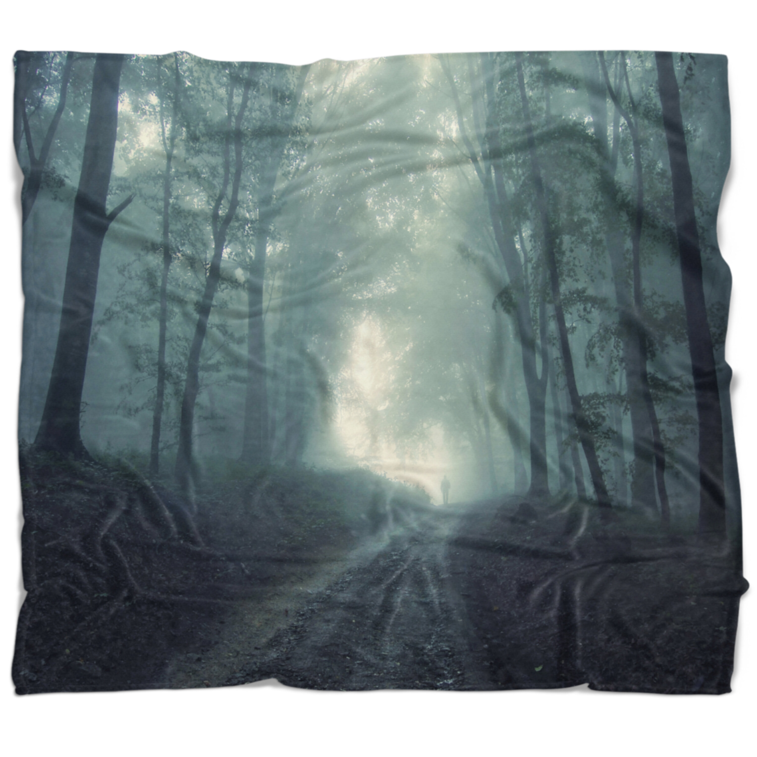 East Urban Home Photography Man Walking In Foggy Forest Blanket Wayfair