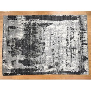 Best Reviews One-of-a-Kind Galasso Hi-lo Pile Abstract Design Hand-Knotted 9' x 12'2 Wool/Silk Black/Beige Area Rug By Isabelline