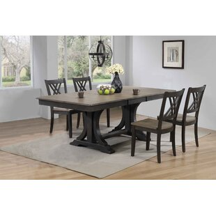 Gerace Double Pedestal Deco Double X-Back 5-Piece Solid Wood Dining Set Gracie Oaks