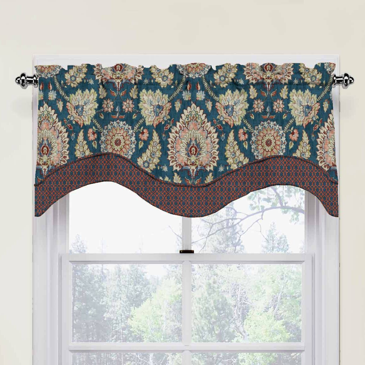 over valance shipping jacquard overstock product park on home window whitman free madison garden brown orders