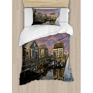 Sunset over Nantucket Massachusetts Dramatic Sky Clouds Pond Houses Duvet Set by East Urban Home
