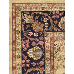 Sarouk Hand-Knotted Wool Camel/Black Area Rug Pasargad