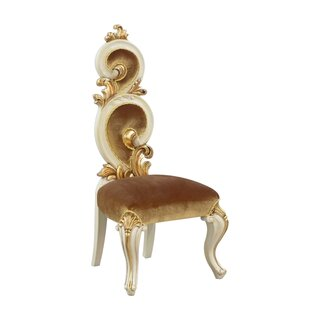 Classic Style Wooden Chair With Scrollwork Backrest, Gold And Beige by Astoria Grand SKU:DD766745 Purchase
