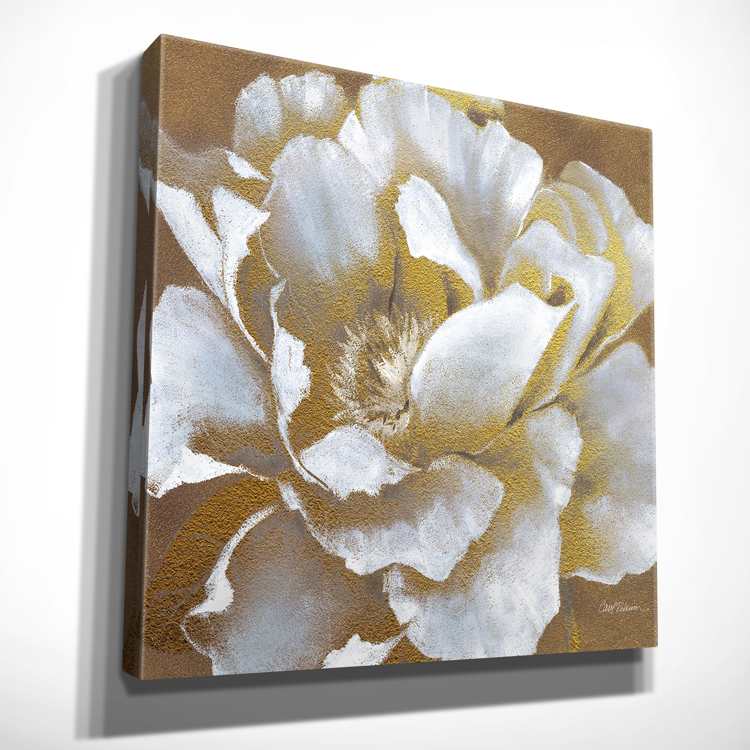 Rosdorf Park Golden Bloom Ii Graphic Art Print On Wrapped Canvas Reviews Wayfair