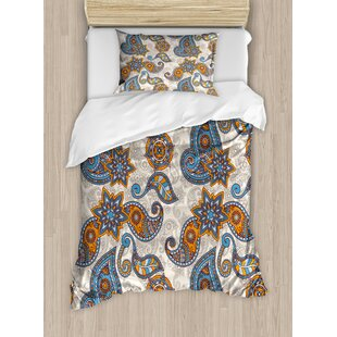 East Urban Home Indian Ethnic Tribal Paisley with Floral Detail Abstract Backdrop Duvet Set