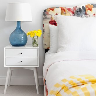 White Mid Century Nightstand In Light And Bright Bedroom