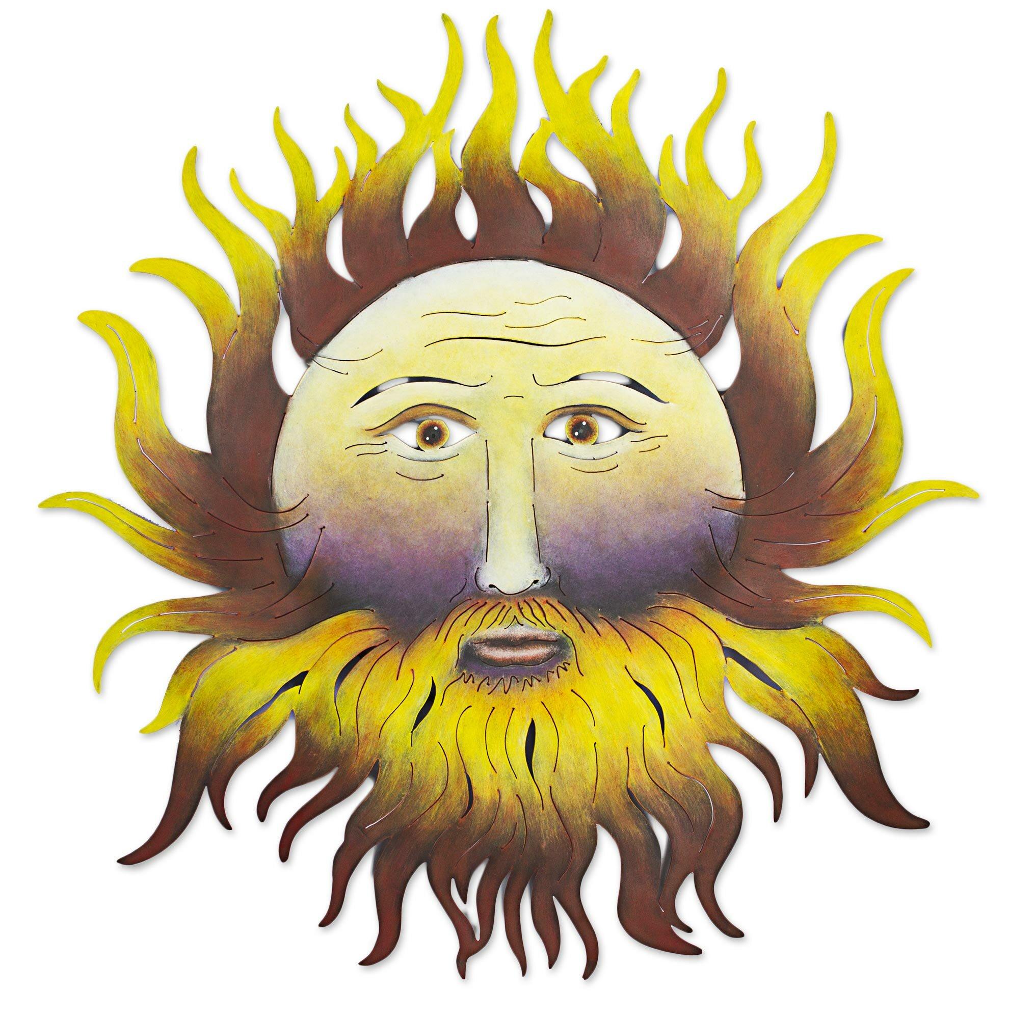 Novica Bearded Sun Steel Sculpture Wall Décor   Wayfair