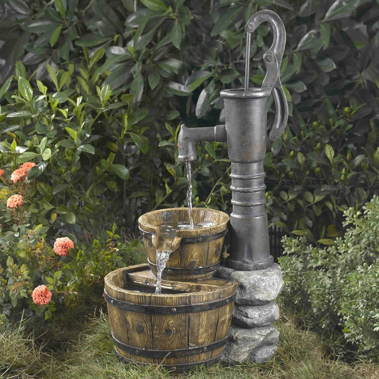 August Grove Resin Fibreglass Old Fashioned Pump Water Fountain Reviews Wayfair Ca