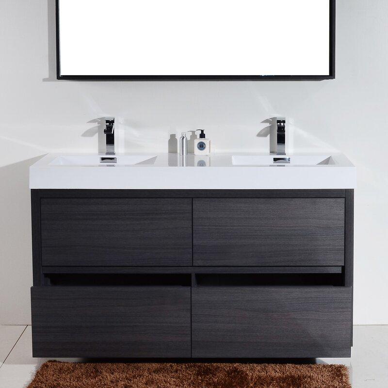 Wade Logan Tenafly Double Bathroom Vanity Set Reviews Wayfair - Bathroom vanities coral springs fl