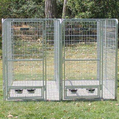 2 Dog Galvanized Steel Yard Kennel K9 Kennel