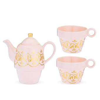 Pinky Up Addison Arabesque 3 Piece Porcelain China Tea Set Wayfair