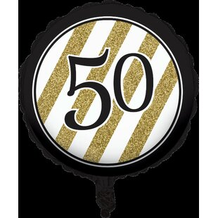 Black and Gold 50th Birthday Mylar Balloon