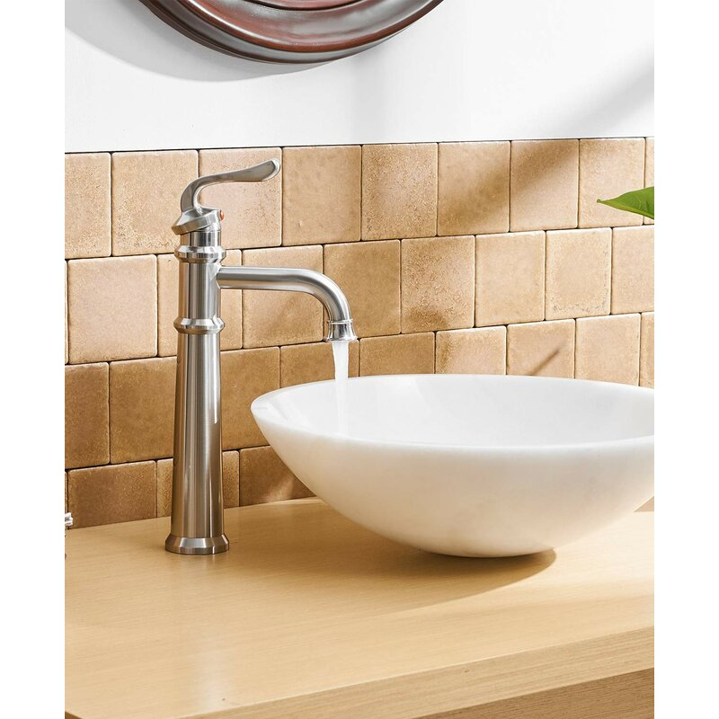 Dfi Waterfall Single Handle One Hole Commercial Bathroom Sink Faucet Vessel Faucets Deck Mount Brushed Nickel With Drain Included Wayfair
