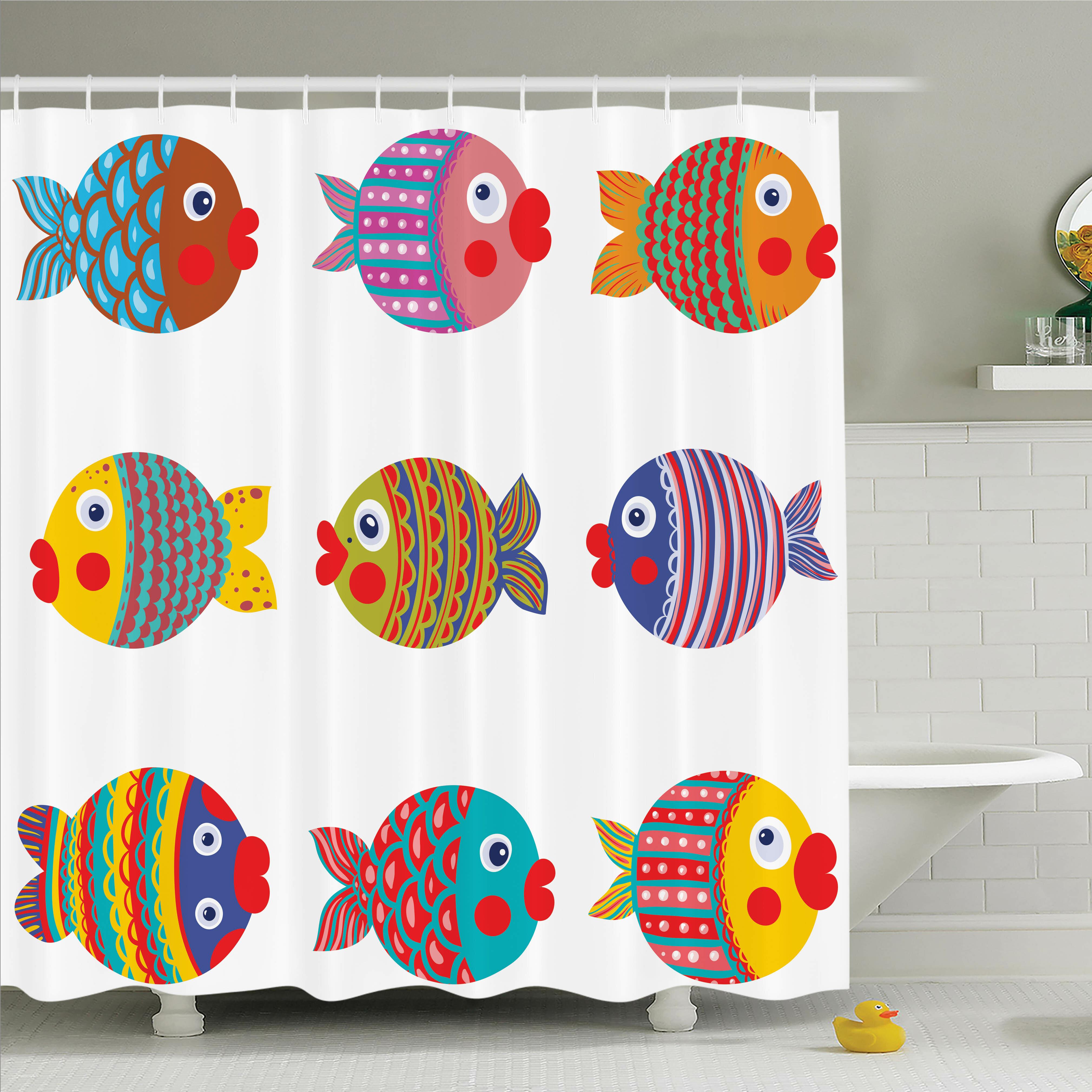 Ambesonne Kids Room Decor Fish Family Shower Curtain Set   Wayfair