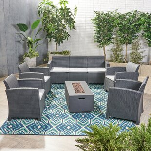 Jacksonville Outdoor 7 Piece Rattan Sofa Seating Group with Cushions