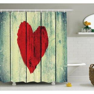 Love Romantic Rustic Wooden Shower Curtain Set
