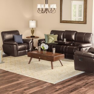 World Menagerie Deverell Reclining 3 Piece Leather Reclining Living Room Set
