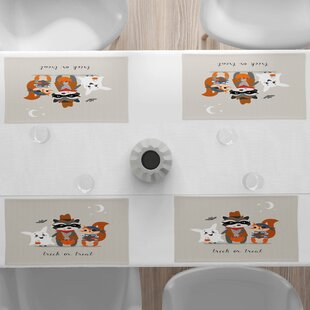 Vintage Style Cloth Placemats by Spoonflower Set of 4 Halloween Placemats - Haunted Houses  by anda