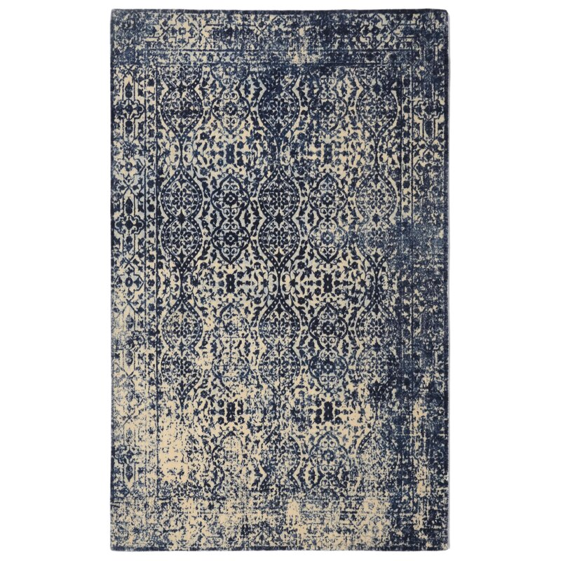 Freetown Modern Distressed Vintage Inspired Navy Beige