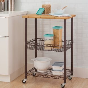 Basics Kitchen Cart with Solid Wood Top