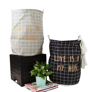 Gold Letter Grid Laundry Hamper (Set of 2)