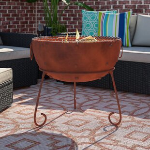 Theydon Steel Charcoal/Wood Burning Fire Pit By Gardeco