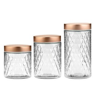 Glass 2 Piece Kitchen Canister Set