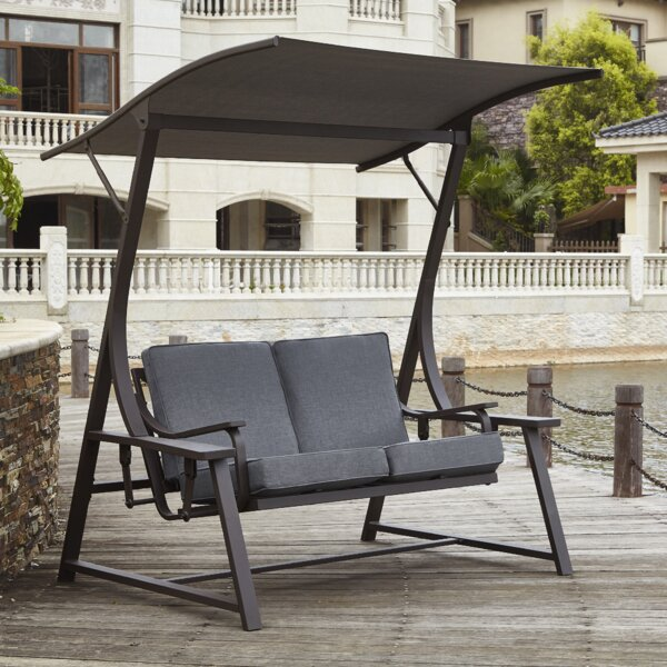 Red Barrel Studio Marine 2 Seat Glider Porch Swing With Stand U0026 Reviews |  Wayfair