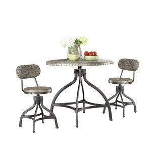 Fatima 3 Piece Adjustable Counter Height Set wit..