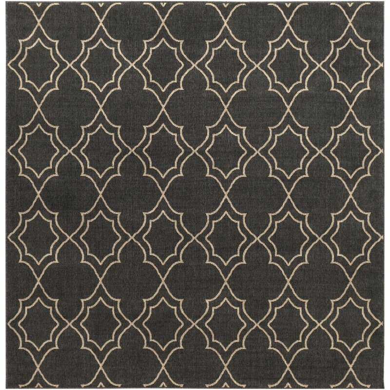 Alcott Hill Amato Power Loomed Black/Camel Indoor/Outdoor Area Rug, Size: Square 73
