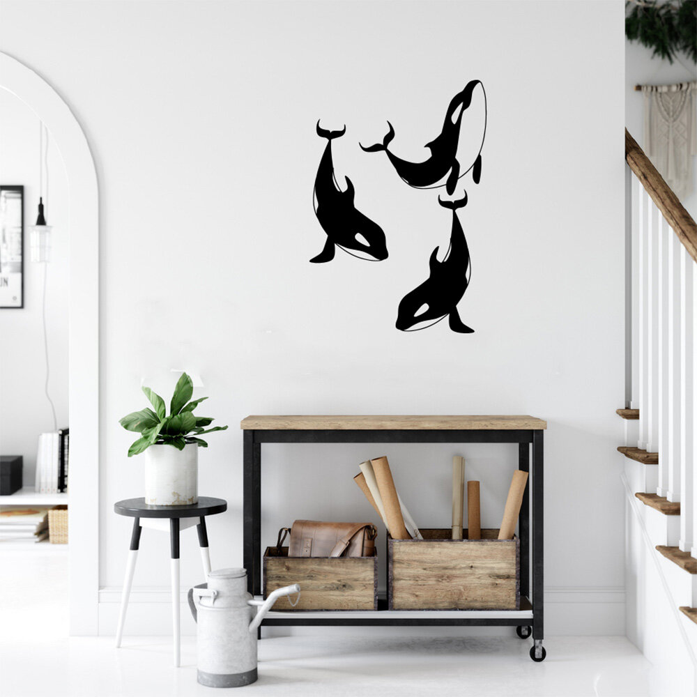 Rosecliff Heights Orca Killer Whale Silhouettes Vinyl Words Wall Decal Wayfair