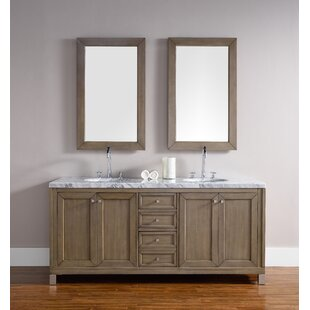 Valladares 72 Double White Washed Walnut Metal Legs Bathroom Vanity Set by Brayden Studio