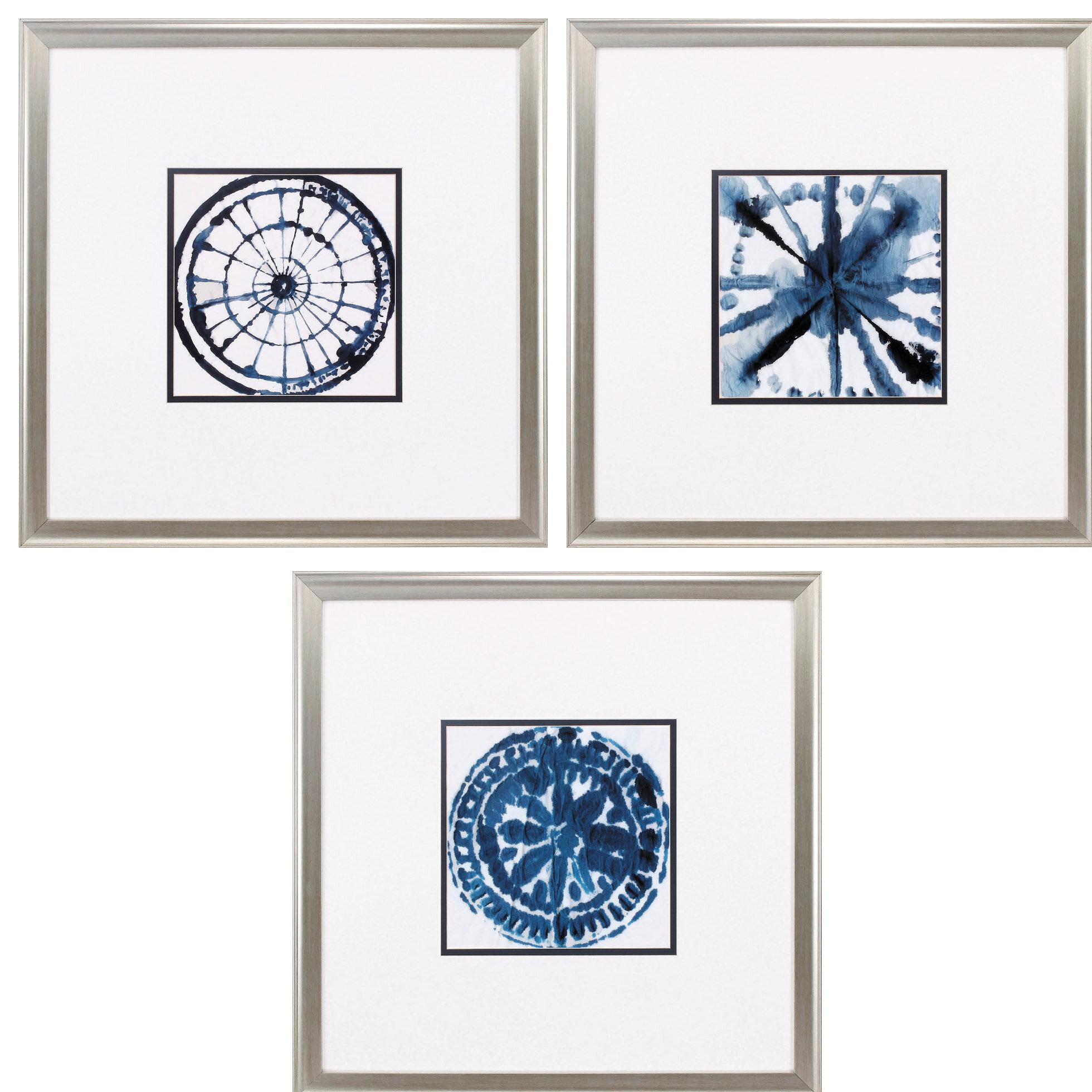 Bungalow Rose Indigo Dye 3 Piece Framed Print Set Wayfair