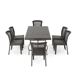 Clausen Realmuto Wicker 7 Piece Dining Set