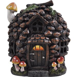 Mystical Pine Cone Fairy Garden Woodland House with LED Light Decoration