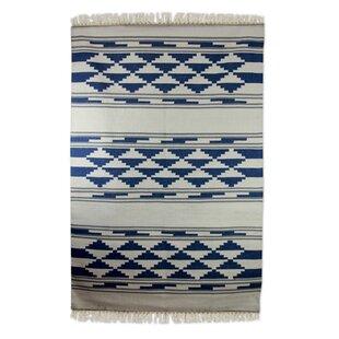 Affordable Ziggurat Hand-Loomed Blue / White Area Rug By Novica