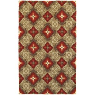 Atrium Floral Panel Brown & Red Indoor/Outdoor Area Rug