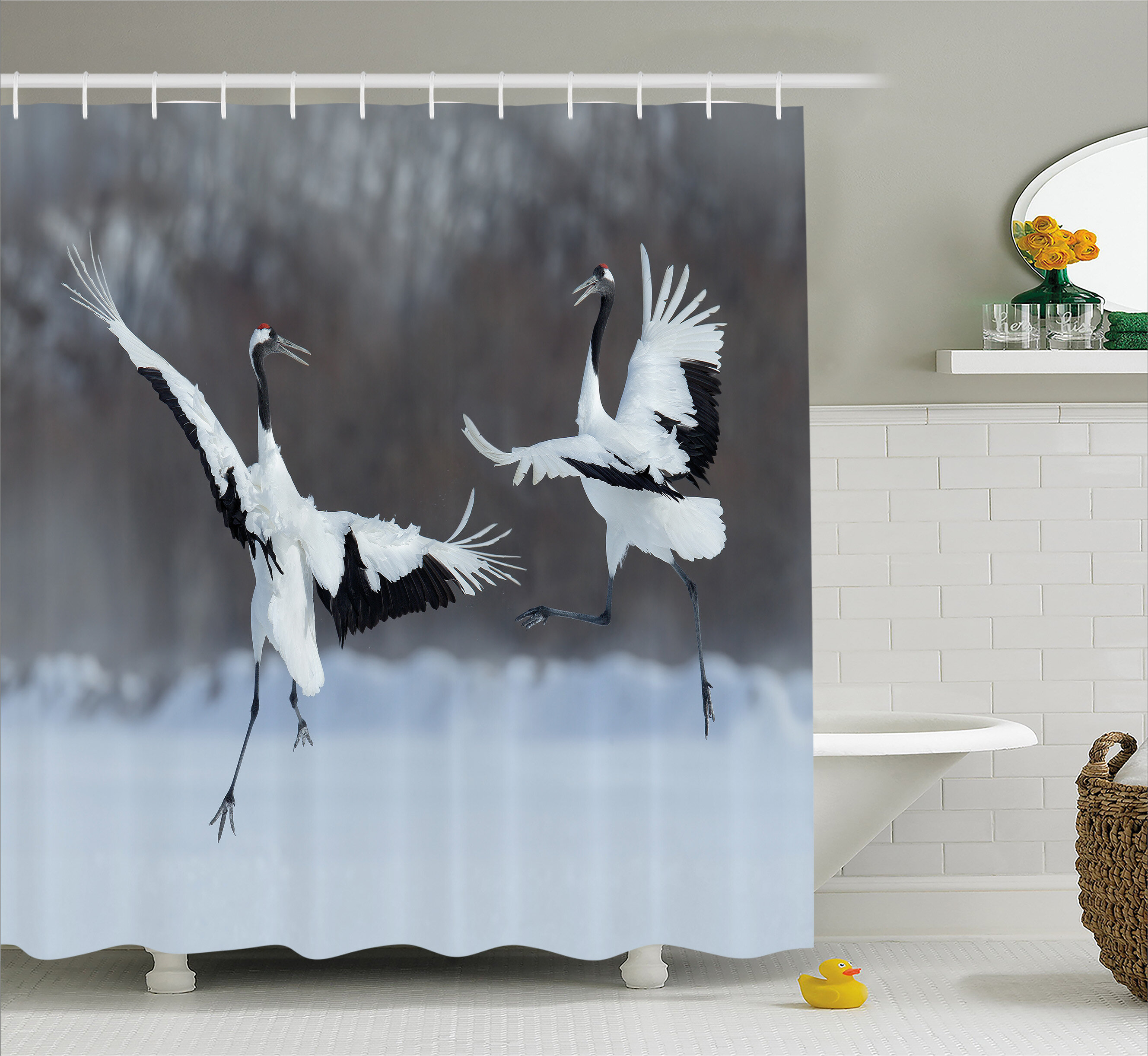 Ambesonne Wildlife Dancing Pair Of Red Crowned Crane With Open Wings In Flight Romantic Bird Print Shower Curtain Set