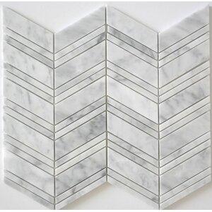 Honed Random Sized Mosaic Tile in Bianco