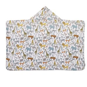 Safari Printed Percale/Solid Woven Terry Hooded Bath Towel