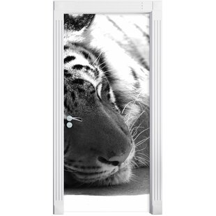 Sleepy Magnificent Tiger Door Sticker By East Urban Home
