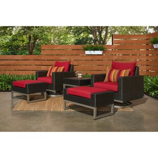 Minor Motion 5 Piece Rattan Sunbrella Conversation Set with Cushions