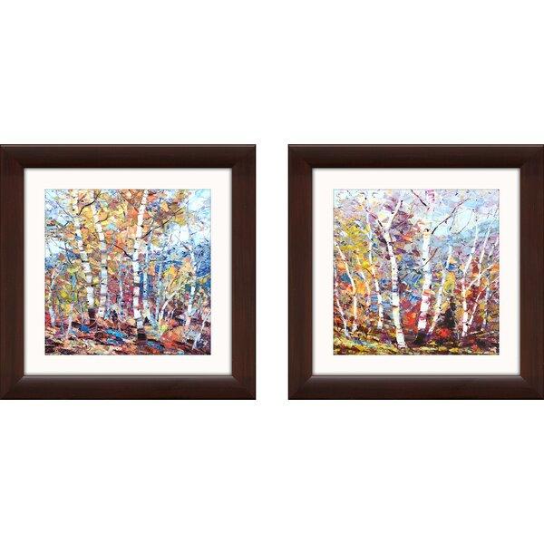 Alcott Hill Birch Colors 1 2 Piece Framed Acrylic Painting Print Set Reviews Wayfair