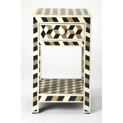 Acosta Wood and Bone Inlay End Table by Brayden Studio