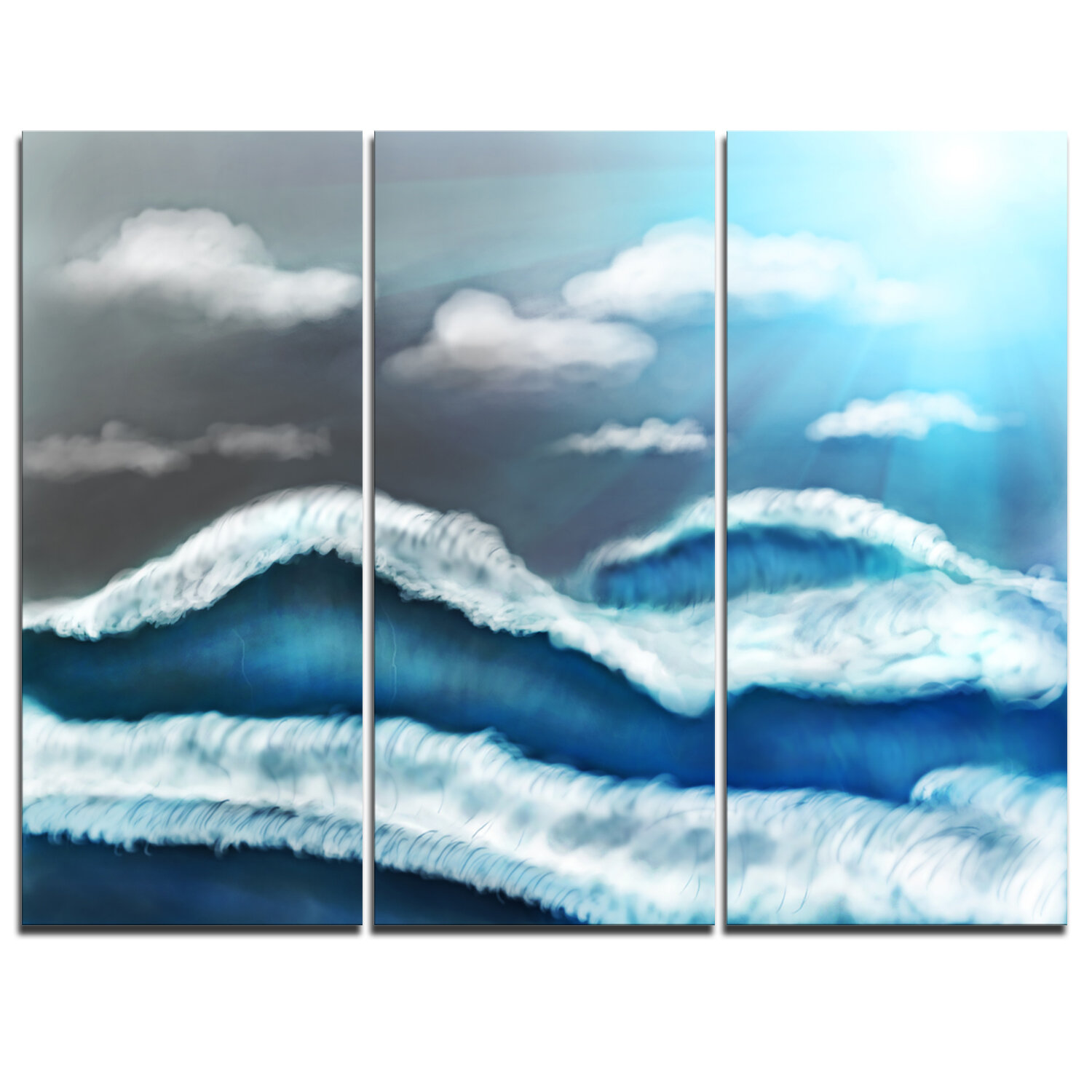 Designart Blue Sky With Clouds 3 Piece Graphic Art On Wrapped Canvas Set Wayfair